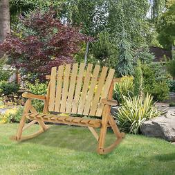 Outsuuny 2 Person Fir Wood Rustic Outdoor Patio Adirondack R