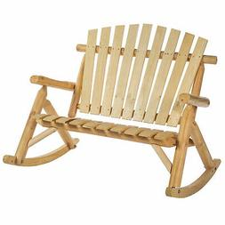 2 Person Fir Wood Rustic Outdoor Patio Adirondack Rocking Ch