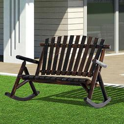 Outsunny 2 Person Fir Wood Rustic Outdoor Patio Adirondack R