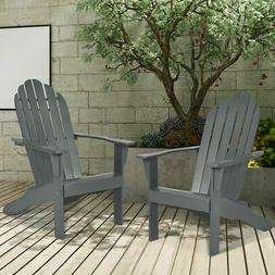 2PCS Wooden Classic Adirondack Chair Lounge Chair Outdoor Pa