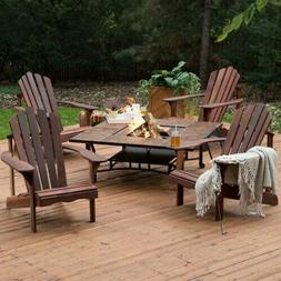 5 Piece Dark Amber Deluxe Adirondack Chair Natural Wood Burn