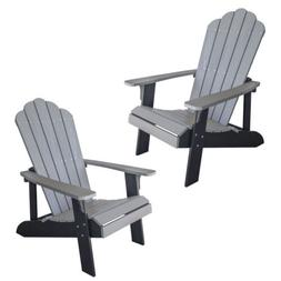 AmeriHome ADCHAIR2SET Simulated Wood Outdoor Two Tone Adiron