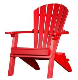 ADIRONDACK CHAIR - Bright Red Folding Fan Back with Cup Hold
