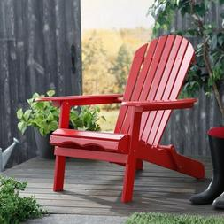 Adirondack Chair Outdoor Foldable Folding Wood Red Garden Po
