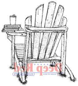Deep Red Stamps Adirondack Life Chair Rubber Cling Stamp