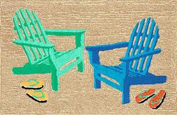 """AREA RUGS - """"BY THE SEASIDE"""" ADIRONDACK BEACH CHAIRS RUG - 3"""