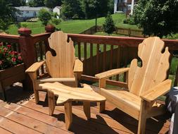 Cedar Michigan Adirondack Chair Set with UP Table