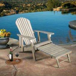 Katherine Outdoor Reclining Wood Adirondack Chair with Footr