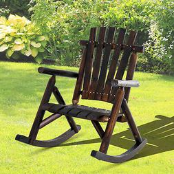 Outsunny Fir Wood Rustic Outdoor Patio Adirondack Rocking Ch