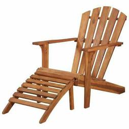 Solid Acacia Wood Adirondack Chair with Footrest, Durable Pa