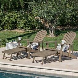 Hayle Outdoor Reclining Wood Adirondack Chair with Footrest