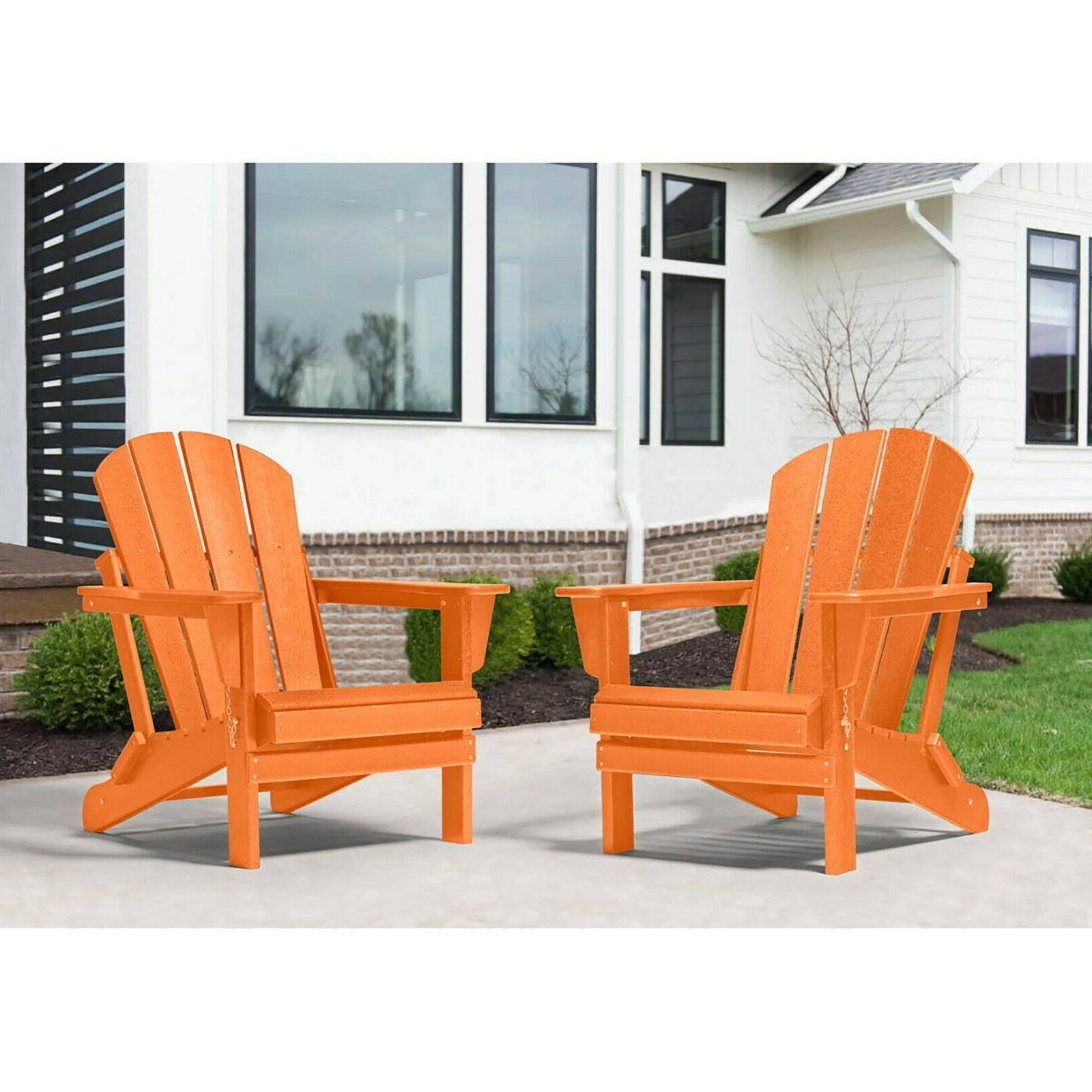 2 WestinTrends Outdoor Adirondack Chairs Plastic Lounger