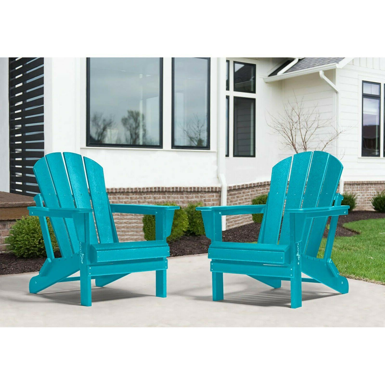 2 Outdoor Patio Adirondack Chairs Lounger