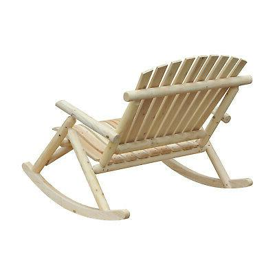 Outsuuny 2 Person Wood Rustic Adirondack Rocking Chair Bench