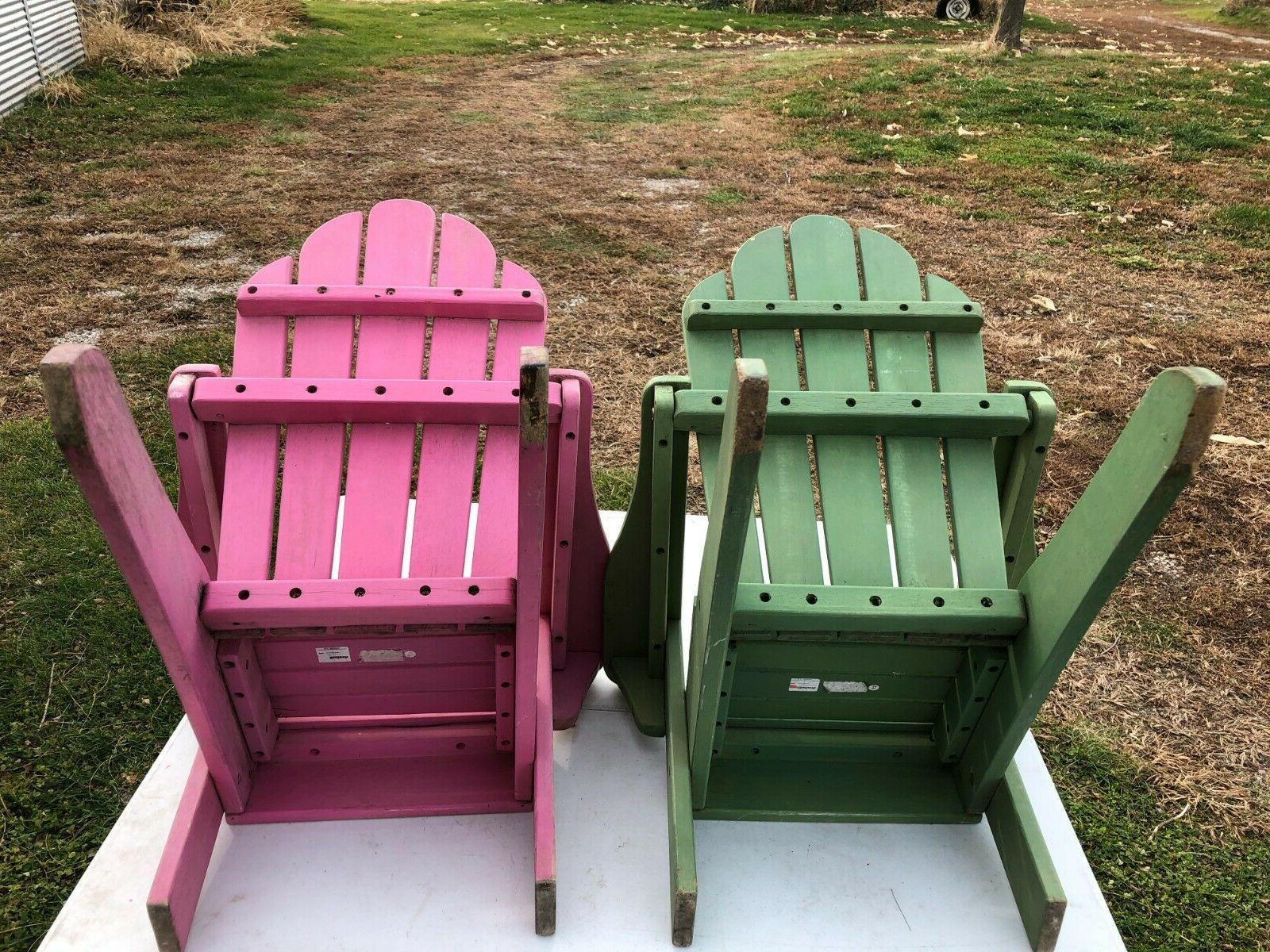 2PCS Child Wooden Adirondack Chair Outdoor Patio Lounge