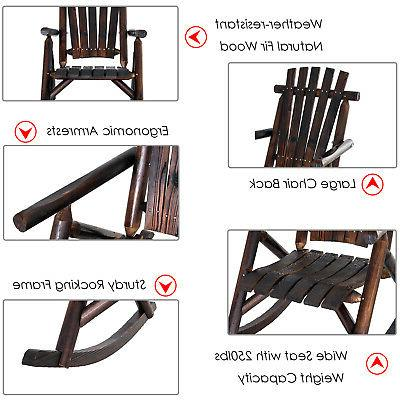 Outsunny Wood Rustic Outdoor Rocking Chair Porch Rocker
