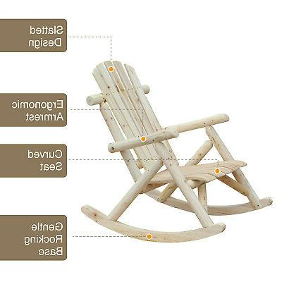 Outsunny Chair Adirondack Style Natural Color