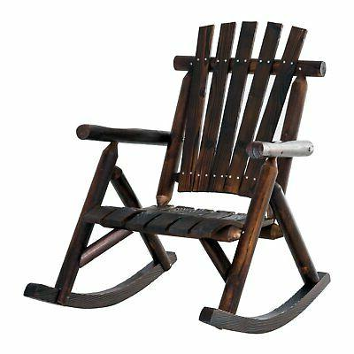 Outsunny Fir Wood Rustic Outdoor Patio Adirondack Rocking Br