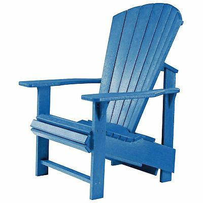 recycled plastic upright adirondack chair blue 27