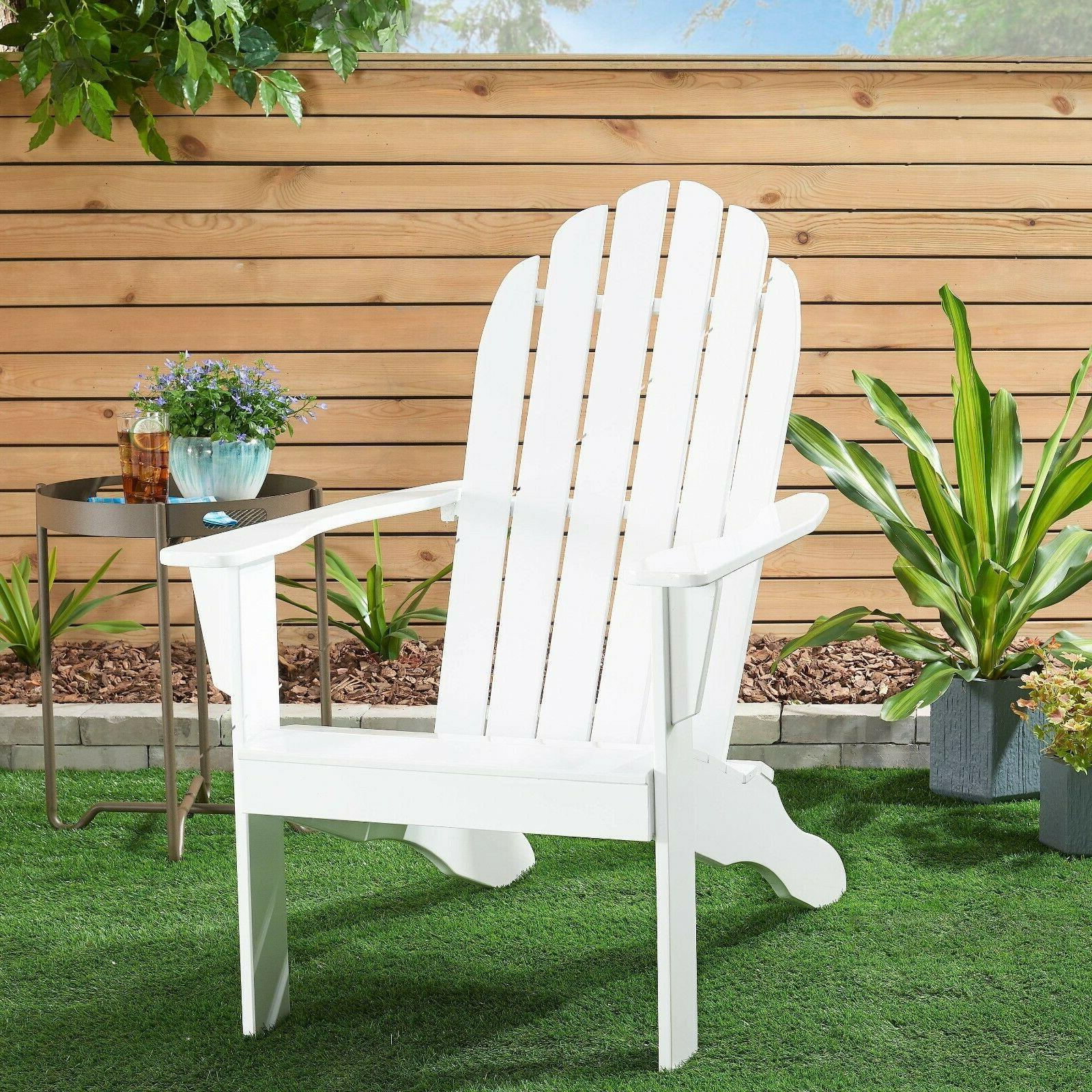 wooden outdoor adirondack chair white finish solid