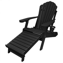 New Deluxe Outer Banks Black Poly Adirondack Chair w/ Integr