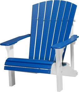 Outdoor Deluxe Adirondack Chair - Blue and White Poly - Recy