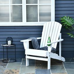 Outdoor Patio Wooden Adirondack Chair Lounge w/Cup Holder De