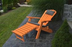 Poly Folding & Reclining Adirondack Chair w Attached Ottoman