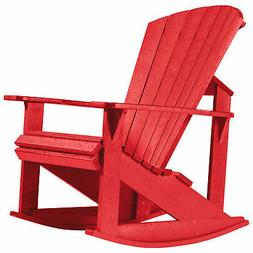 """Recycled Plastic Adirondack Rocking Chair, Red, 34""""L x 24""""W"""