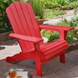 Red Color Solid Wood Adirondack Chair Outdoor Backyard Patio