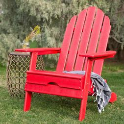 Red Heavy Duty Resin Classic Adirondack Chair Outdoor Furnit
