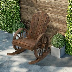 Rustic Outdoor Patio Adirondack Rocking Chair