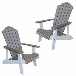 AmeriHome Simulated Wood Outdoor Two Tone Adirondack Chair,
