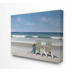 The Stupell Home Decor Two White Adirondack Chairs on the