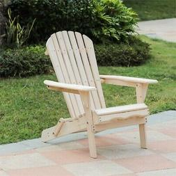 Luxen Home Unfinished Wood Adirondack Chair