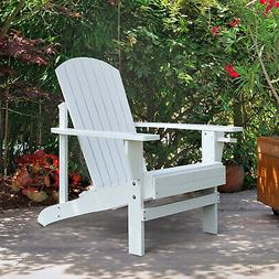Outdoor Wood Adirondack Chair Patio Chaise Lounge Deck Recli
